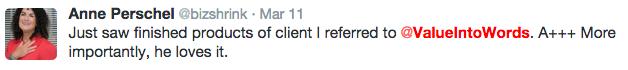 Anne Perschel testimonial tweet