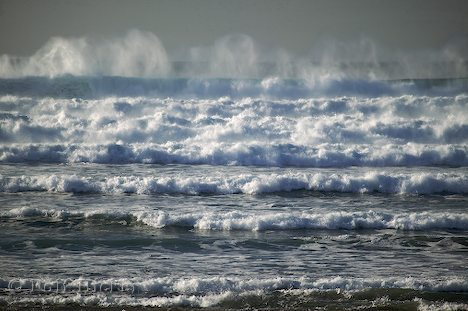 Row after row of large ocean waves at Cannon Beach in Oregon, USA.